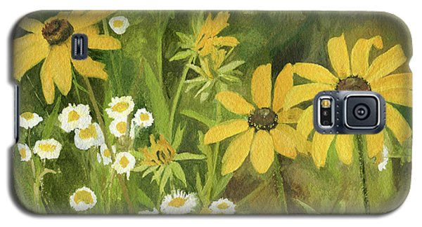 Galaxy S5 Case featuring the painting Black-eyed Susans In A Field by Laurie Rohner