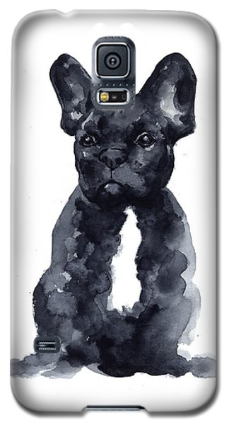 Black French Bulldog Watercolor Poster Galaxy S5 Case by Joanna Szmerdt