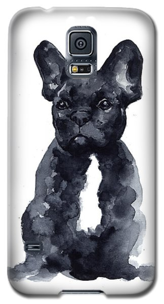 Bull Galaxy S5 Case - Black French Bulldog Watercolor Poster by Joanna Szmerdt
