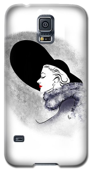 Galaxy S5 Case featuring the digital art Black Hat Red Lips by Cindy Garber Iverson