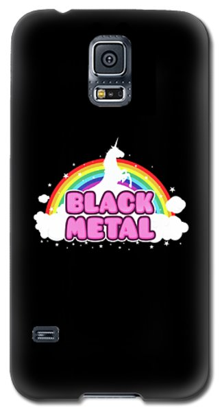 Black Metal Funny Unicorn / Rainbow Mosh Parody Design Galaxy S5 Case by Philipp Rietz