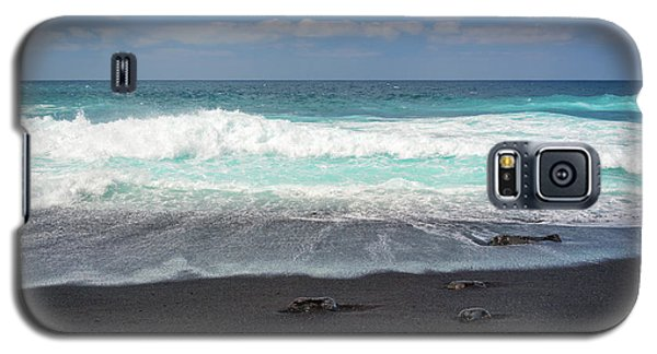 Galaxy S5 Case featuring the photograph Black Sand Beach by Delphimages Photo Creations