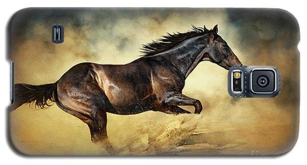 Black Stallion Horse Galloping Like A Devil Galaxy S5 Case