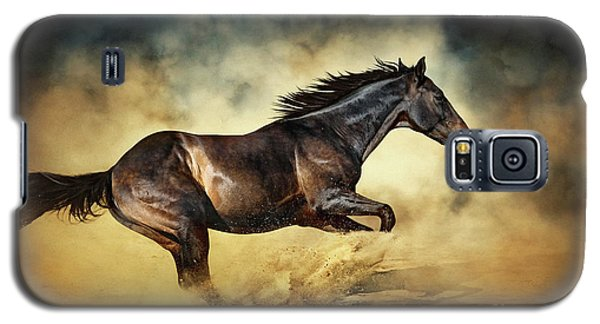 Black Stallion Horse Galloping Like A Devil Galaxy S5 Case