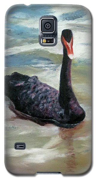 Galaxy S5 Case featuring the painting Black Swan by Roseann Gilmore