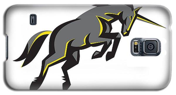 Black Unicorn Horse Charging Isolated Retro Galaxy S5 Case by Aloysius Patrimonio