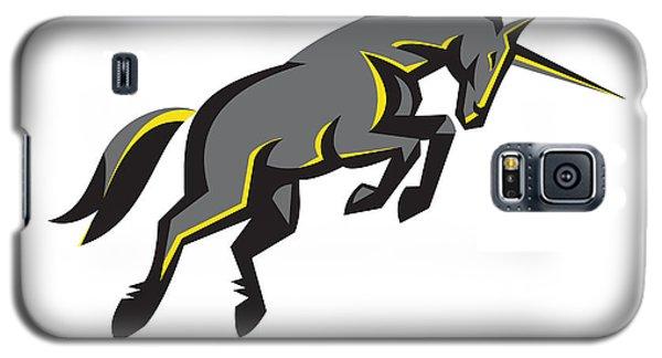 Black Unicorn Horse Charging Isolated Retro Galaxy S5 Case