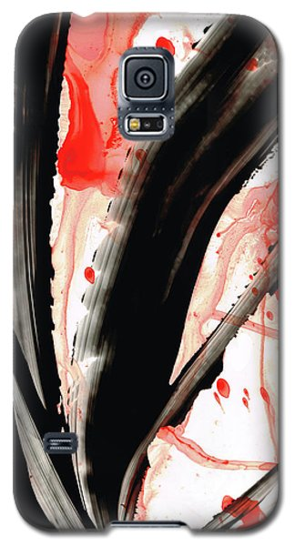 Galaxy S5 Case featuring the painting Black White Red Art - Tango 2 - Sharon Cummings by Sharon Cummings