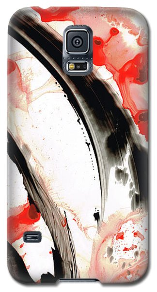 Galaxy S5 Case featuring the painting Black White Red Art - Tango 3 - Sharon Cummings by Sharon Cummings