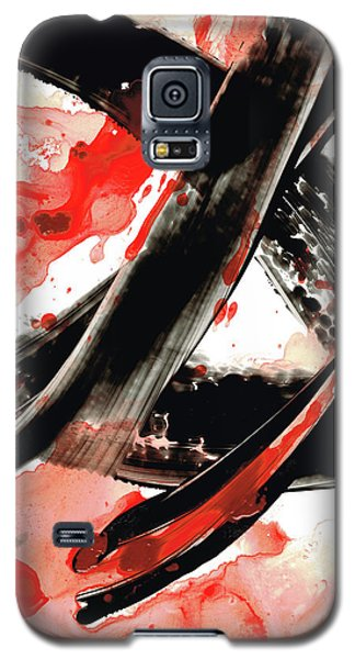Galaxy S5 Case featuring the painting Black White Red Art - Tango - Sharon Cummings by Sharon Cummings