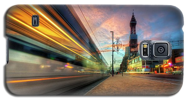 Galaxy S5 Case featuring the photograph Blackpool Tram Light Trail by Yhun Suarez