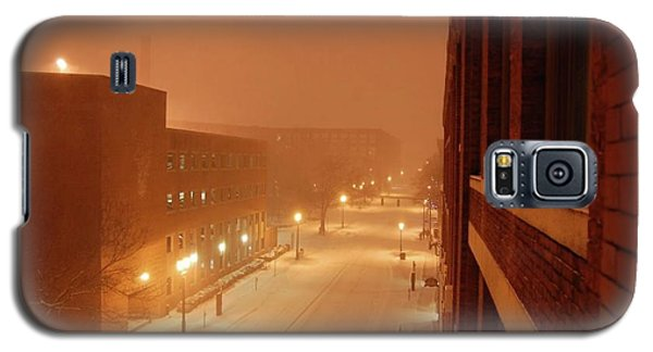 Galaxy S5 Case featuring the photograph Blizzard Market Street Lowell Ma by Mary McAvoy