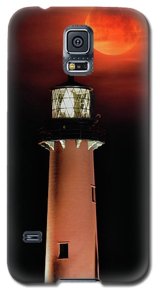 Blood Moon Rising Over Jupiter Lighthouse In Florida Galaxy S5 Case