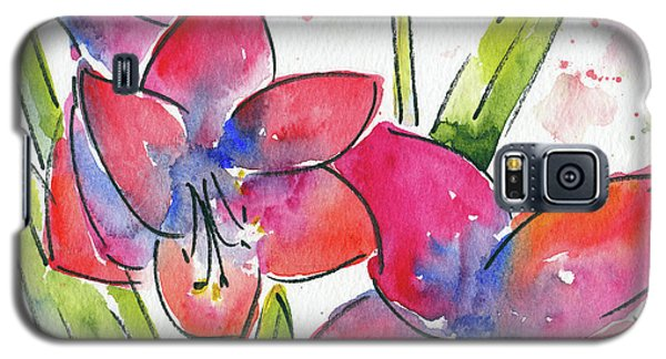 Galaxy S5 Case featuring the painting Blooming Amaryllis by Pat Katz