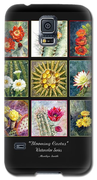 Galaxy S5 Case featuring the painting Blooming Cactus by Marilyn Smith