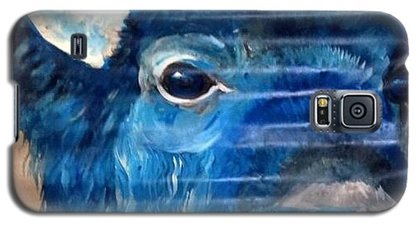 Galaxy S5 Case featuring the painting Blu Bison by Patty Sjolin
