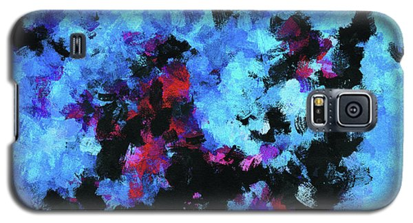 Galaxy S5 Case featuring the painting Blue And Black Abstract Wall Art by Ayse Deniz