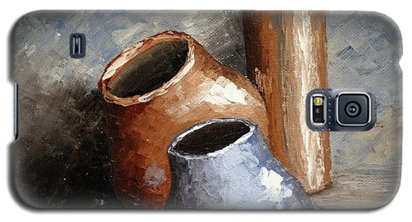 Galaxy S5 Case featuring the painting Blue And Brown Pots by Roena King
