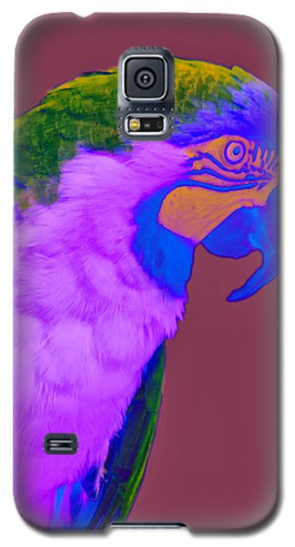 Galaxy S5 Case featuring the photograph Blue And Gold Macaw Sabattier by Bill Barber
