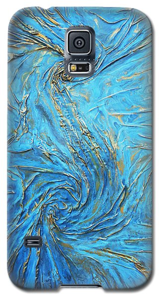 blue and gold S Galaxy S5 Case by Angela Stout