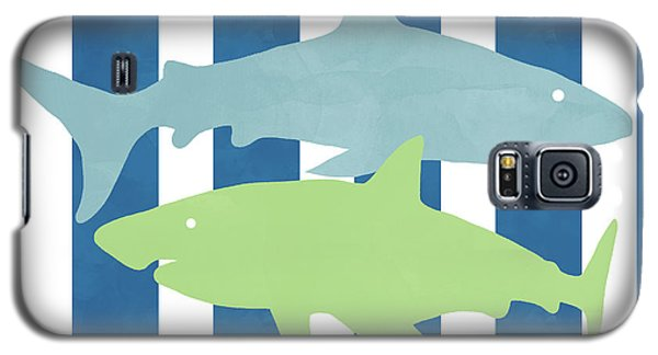 Nurse Shark Galaxy S5 Case -  Blue And Green Sharks- Art By Linda Woods by Linda Woods