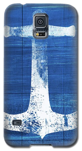 Galaxy S5 Case featuring the mixed media Blue And White Anchor- Art By Linda Woods by Linda Woods