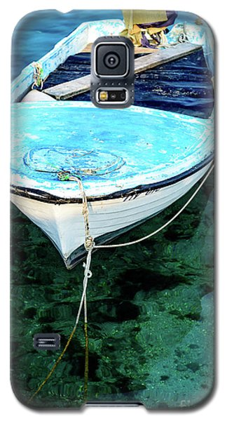 Blue And White Fishing Boat On The Adriatic - Rovinj, Croatia Galaxy S5 Case