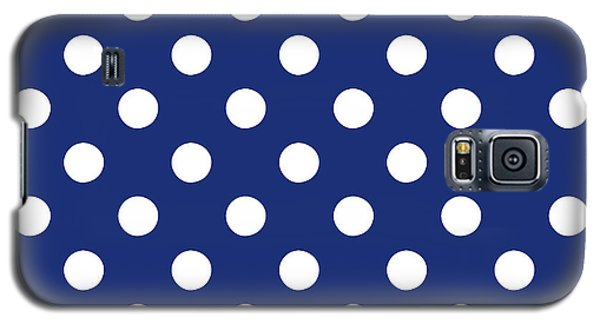 Galaxy S5 Case featuring the mixed media Blue And White Polka Dots- Art By Linda Woods by Linda Woods