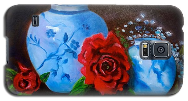 Galaxy S5 Case featuring the painting Blue And White Pottery And Red Roses by Jenny Lee