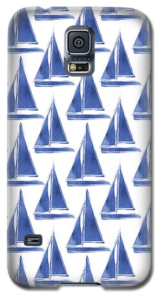 Blue And White Sailboats Pattern- Art By Linda Woods Galaxy S5 Case by Linda Woods