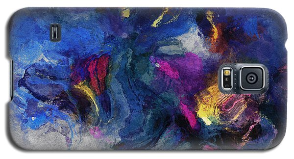 Galaxy S5 Case featuring the painting Blue And Yellow Minimalist / Abstract Painting by Ayse Deniz