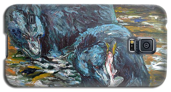 Galaxy S5 Case featuring the painting Blue Bears Fishing by Koro Arandia