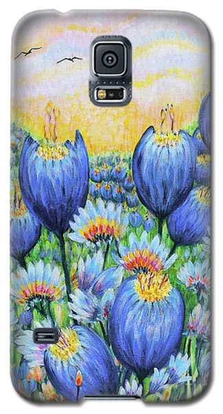 Galaxy S5 Case featuring the painting Blue Belles by Holly Carmichael