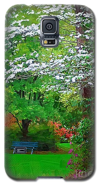 Galaxy S5 Case featuring the photograph Blue Bench In Park by Donna Bentley