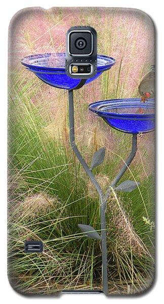 Galaxy S5 Case featuring the photograph Blue Bird Bath by Rosalie Scanlon