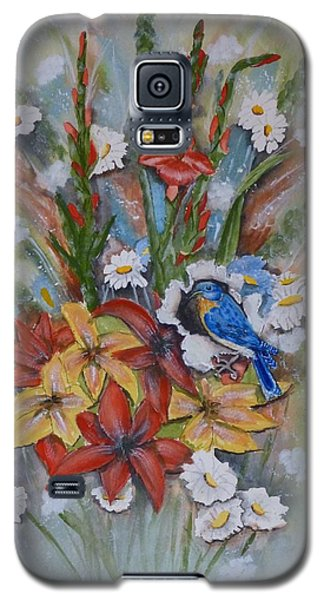 Galaxy S5 Case featuring the painting Blue Bird Eats Thru The Painting by Kelly Mills