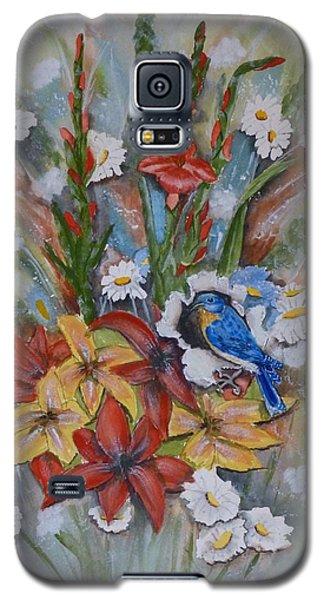 Blue Bird Eats Thru The Painting Galaxy S5 Case by Kelly Mills