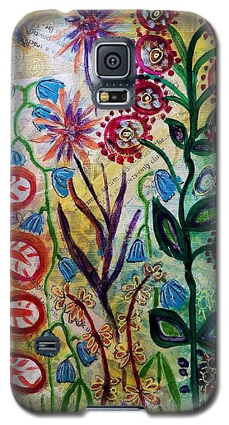 Galaxy S5 Case featuring the mixed media Blue Bug In The Magic Garden by Mimulux patricia no No