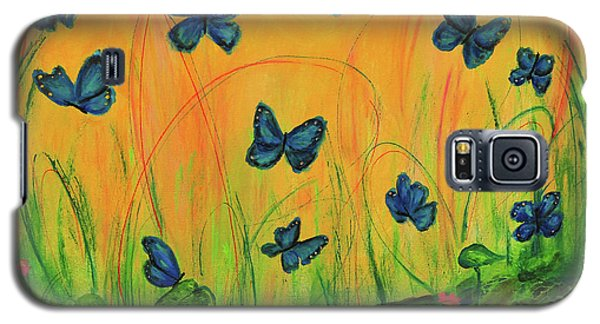 Blue Butterflies In Early Morning Garden Galaxy S5 Case