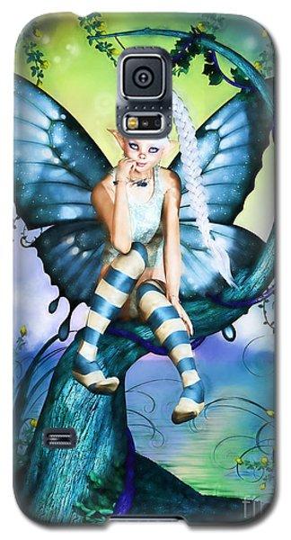 Blue Butterfly Fairy In A Tree Galaxy S5 Case