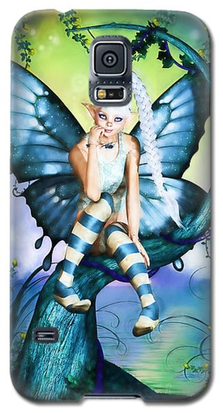 Blue Butterfly Fairy In A Tree Galaxy S5 Case
