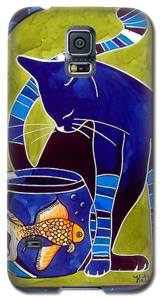 Blue Cat With Goldfish Galaxy S5 Case