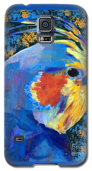 Galaxy S5 Case featuring the painting Blue Cockatiel by Donald J Ryker III