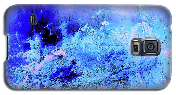 Blue Digital Artwork With Dots And Stripes And Sandstone Finish Galaxy S5 Case
