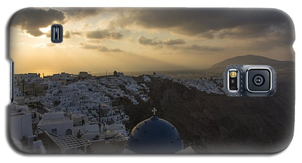 Galaxy S5 Case featuring the tapestry - textile Blue Dome - Santorini by Kathy Adams Clark