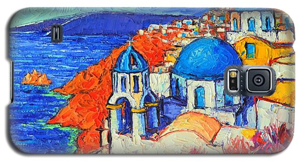 Blue Domes In Oia Santorini Greece Original Impasto Palette Knife Oil Painting By Ana Maria Edulescu Galaxy S5 Case