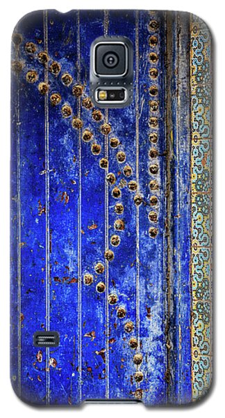 Galaxy S5 Case featuring the photograph Blue Door In Marrakech by Marion McCristall