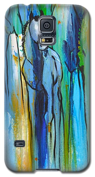 Galaxy S5 Case featuring the painting Blue Drip 2 by Cher Devereaux