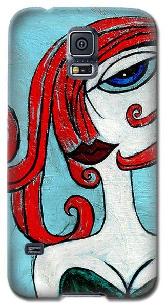 Blue Eyed Redhead In Green Dress Galaxy S5 Case