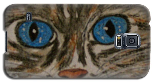 Galaxy S5 Case featuring the painting Blue Eyed Tiger Cat by Kathy Marrs Chandler